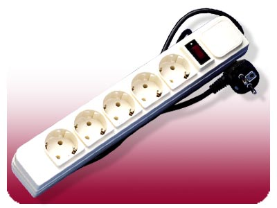 European Schuko Round pin 5-outlet power strip with 72 Joules Surge Protector