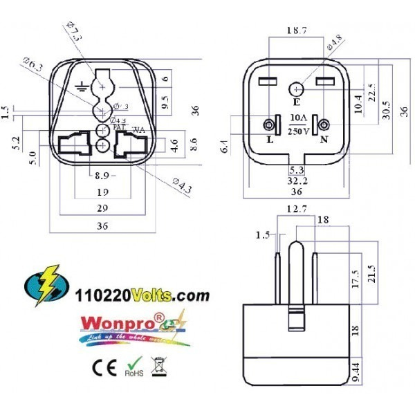 wonpro wa 5 universal to us grounded travel power plug adapter 9b5 wonpro wa 5 universal to us grounded travel power plug adapter plug wiring diagram us at soozxer.org