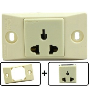 Type A, B, C, E, F, H, & I Universal Electrical Receptacle Outlet, With Face Plate