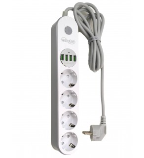 Regvolt 4 Schuko Outlet Power Strip with 4 USB for 220v-250v