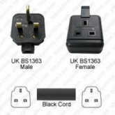 Regvolt UK Extension 10', 20', 25', 50', 75, 100', &150' Power Cord, Plug / outlet UK BS-1363