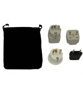 Azores Power Plug Adapters Kit with Travel Carrying Pouch