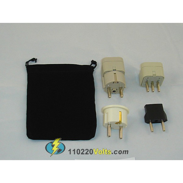 Chile Power Plug Adapters Kit With Travel Carrying Pouch