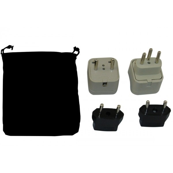 Rwanda Power Plug Adapters Kit With Travel Carrying Pouch