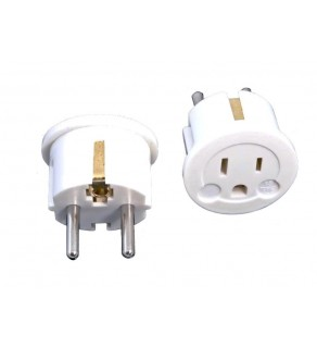 Grounded US to Grounded European Schuko Power Adapter Plug