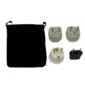 Denmark Power Plug Adapters Kit with Travel Carrying Pouch