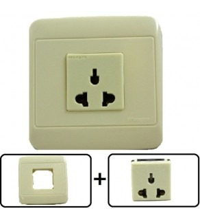 Type A, B, C, E, F, H, & I Universal Electrical Receptacle Outlet, With Cover Plate