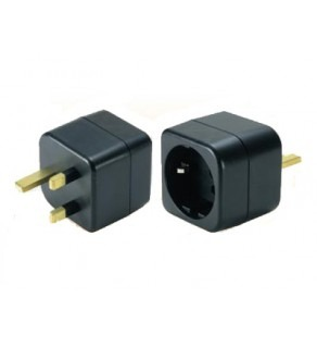 European Schuko to UK Grounded Power Adapter Plug
