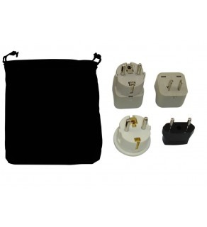 Turkmenistan Power Plug Adapters Kit with Travel Carrying Pouch