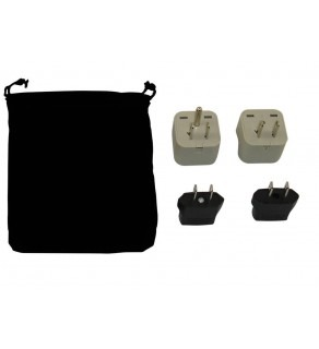 American Samoa Power Plug Adapters Kit with Travel Carrying Pouch - AS
