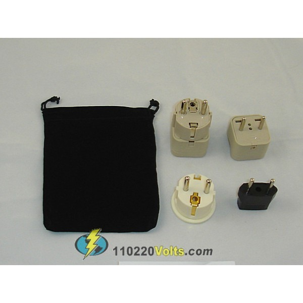 Iceland Power Plug Adapters Kit With Travel Carrying Pouch