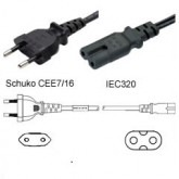 European Power Cord Cable Figure 8 to 2 pin