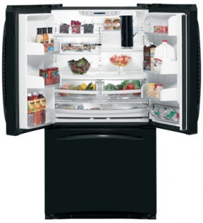 GE 25 Cu. Ft PFSE5NJWDBB BLACK THREE-DOOR REFRIGERATOR 220 VOLTS