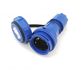 AC Female Power Connector Cont. Europe CEE7/3 16 Amp 250 Volt Blue Straight Entry Water Tight