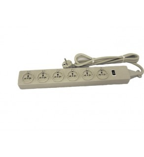 Wonrpo 6 Outlet Universal European Schuko Round power strip 4000 Joules Surge Protector