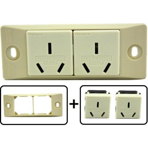 type i electrical receptacle outlet for australia new zealand with face plate. Black Bedroom Furniture Sets. Home Design Ideas