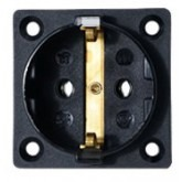 Type C E & F Electrical Receptacle Outlet German Schucko Single Socket Panel Mount Black