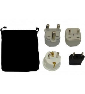 Lesotho Power Plug Adapters Kit with Travel Carrying Pouch - LS (Default)