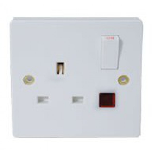 Type G Electrical Receptacle Outlet For Uk 13 Amp Panel Mount Switch Light