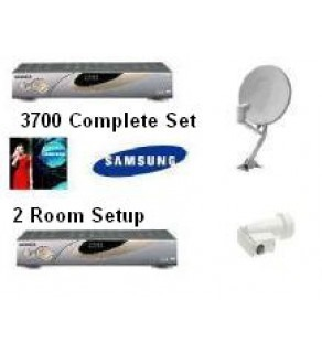 SAMSUNG Free Air Channels Satellite Dish & Dual LNBF, Complete 2 Room Set