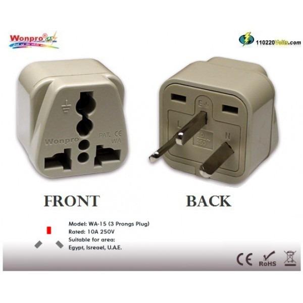 Wonpro Wa 15 Universal To Israel Rectangular Grounded Plug Adapter