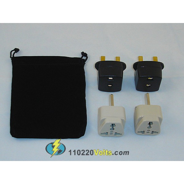 Ireland Power Plug Adapters Kit With Travel Carrying Pouch Ie 110220volts Com