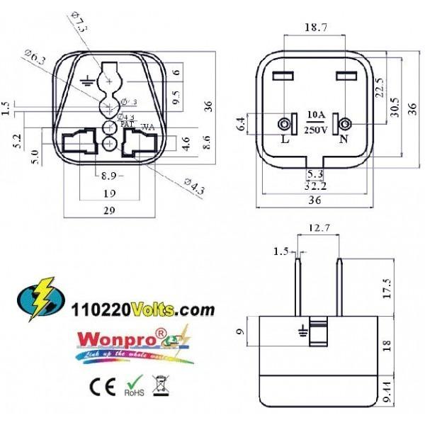 WonPro WA-6 Universal to US Power Plug Adapter, 110220Volts.com