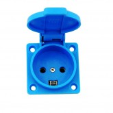 AC Female Power Wall Socket Denmark AFSNIT 16 Amp 250 Volt Panel Mount Blue Screw In Flip Top