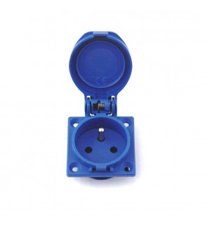 AC Female Power Wall Socket France CEE7/5 16 Amp 250 Volt Panel Mount Blue Screw In Flip Top
