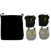 United Kingdom Power Plug Adapters Kit with Travel Carrying Pouch - GB