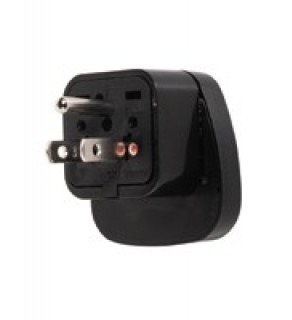 Universal Schuko adapter to US grounded Adapter Plug (Black)