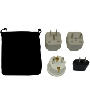 Barbados Power Plug Adapters Kit with Travel Carrying Pouch - BB