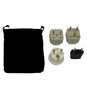 India Power Plug Adapters Kit with Travel Carrying Pouch