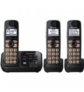 Panasonic Expandable Digital Cordless Phone KXTG4733B with 3 Handset