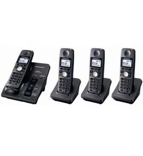 Panasonic KX-TG6054B 5.8 GHz FHSS Expandable Digital Cordless Phone System with 4 Handsets