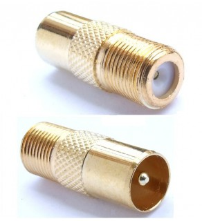 Male European coaxial antenna cable converted to Female American Cable