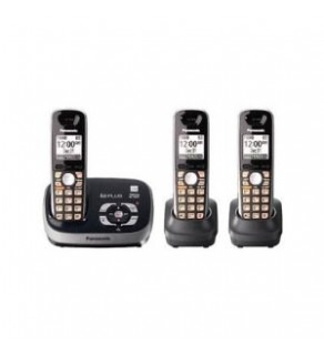 Panasonic KX-TG6533B DECT 6.0 PLUS Expandable Digital Cordless Phone 110 220 Volts