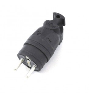 AC Male Power Plug France CEE7/6 16 Amp 250 Volt Black Down Angle Entry Splash Proof