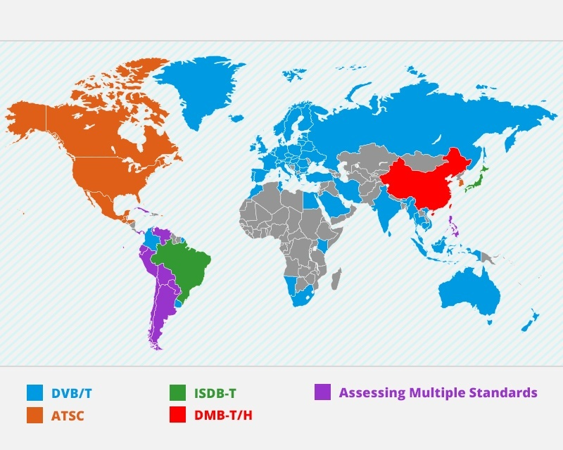 DVB TV standards map